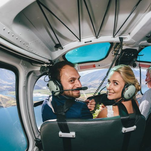 Helicopter wedding photos Wanaka