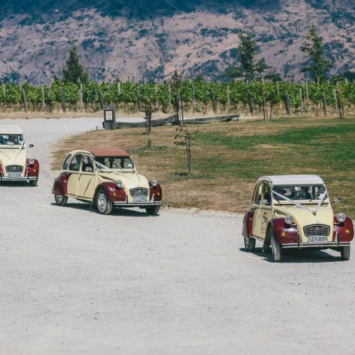 Rippon Wedding Venue, Wanaka. Vintage wedding cars