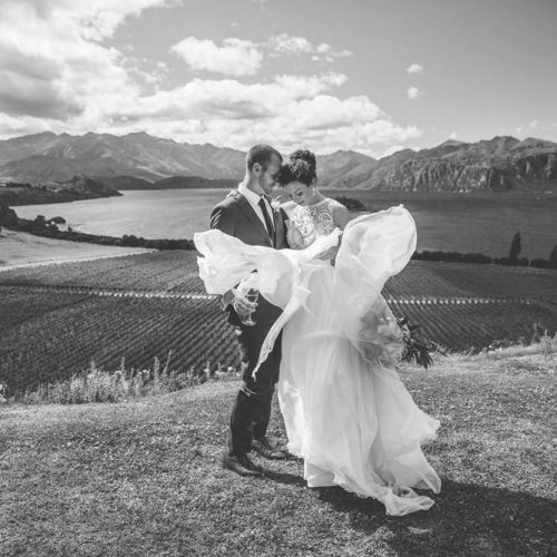 Bride & Groom - Wanaka vineyard wedding