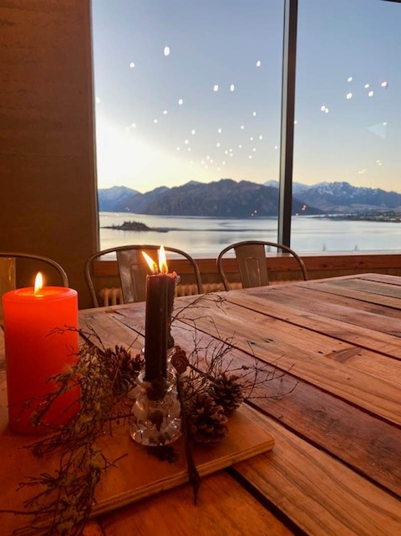 Candle and view chefs table Wanaka